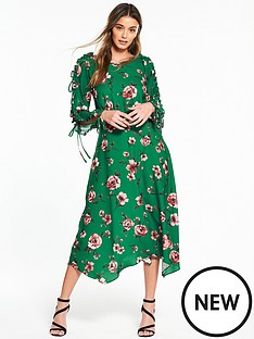 v-by-very-frill-open-sleeve-hanky-hem-midi-dress