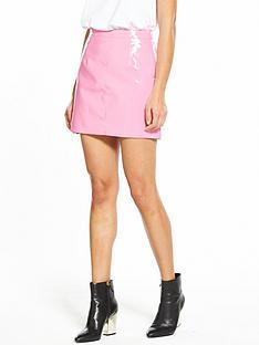 miss-selfridge-vinyl-a-line-skirt-pink
