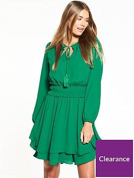 v-by-very-tie-neck-tiered-dress