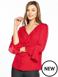 wallis-ruffle-flute-sleeve-blouse