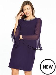 wallis-embellished-collar-fluted-sleeve-dress