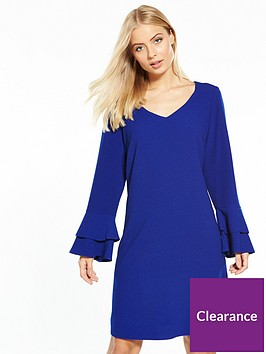 wallis-double-fluted-sleeve-shift-dress-blue