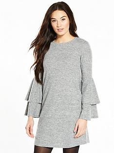 v-by-very-tiered-sleeve-brushed-snit-dress-grey