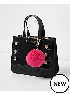 river-island-river-island-girls-military-boxy-tote-with-pom-pom