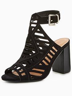 1db3fc14da01 V by Very Krystal Wide Fit Laser Cut Heeled Sandal - Black