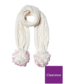 river-island-river-island-girls-large-sequin-pom-cable-scarf