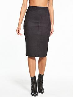 river-island-river-island-suedette-pencil-skirt--black