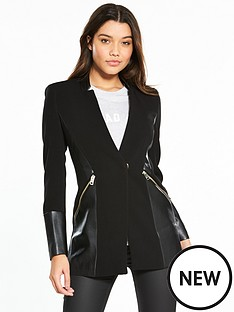 river-island-pu-panel-coat--black
