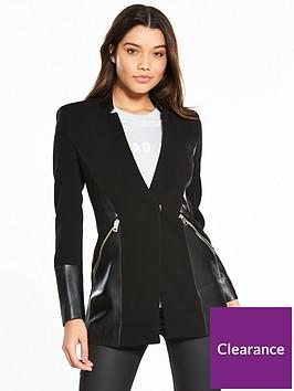 river-island-pu-panel-coat--black