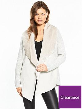 river-island-river-island-faux-fur-collar-cardigan--light-grey