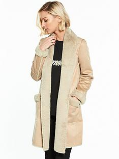 river-island-river-island-faux-suede-shearling-robe-coat--camel