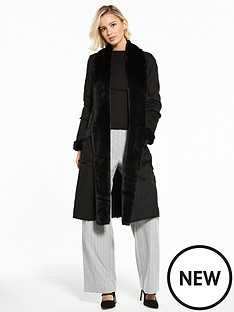 river-island-river-island-faux-suede-shearling-robe-coat--black