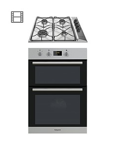 hotpoint-class-2nbspdd2540ixnbsp60cm-built-in-double-electric-oven-and-pan642ixnbspgas-hob-with-flame-safety-device-stainless-steelblack