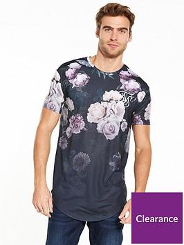 sik-silk-sik-silk-dark-garden-fade-floral-curved-hem-t-shirt