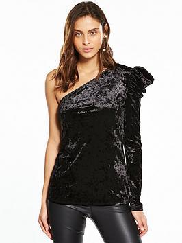 v-by-very-ruffled-one-shoulder-velvet-top-black