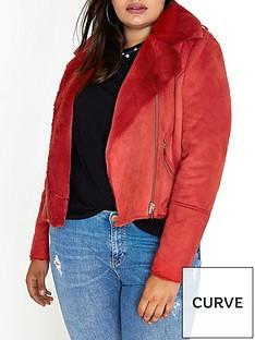 ri-plus-faux-shearling-biker-jacket--red