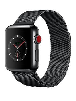 Buy Brand New Apple Watch Series 3 Gps Cellular 38Mm Space Black Stainless Steel Case With Space Black Milanese Loop