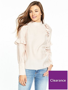 v-by-very-high-neck-pearl-detail-frill-top
