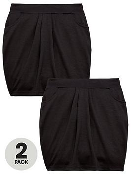 V by Very V By Very Girls 2 Pack Jersey Tulip School Skirts - Black Picture
