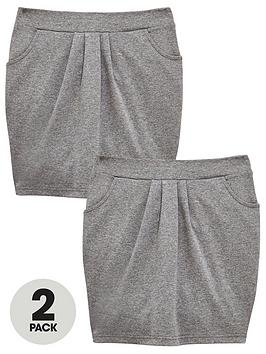 V by Very V By Very Girls 2 Pack Jersey Tulip School Skirts - Grey Picture