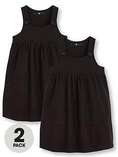 4779d044fc V by Very Girls 2 Pack Jersey Pinafore School Dresses - Black