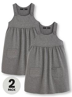 887221aee8 V by Very Girls 2 Pack Jersey School Pinafore Dresses - Grey