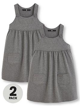 V by Very V By Very Girls 2 Pack Jersey School Pinafore Dresses - Grey Picture