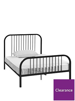 harper-metal-small-double-kids-bed-frame-with-mattress-options-buy-and-save-black-or-pink