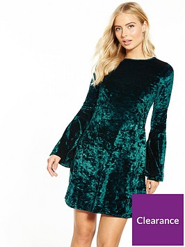 v-by-very-fluted-sleeve-velvet-swing-dress