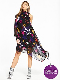 v-by-very-unique-unique-one-sleeve-asymmetric-star-print-dress