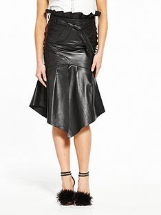 v-by-very-unique-papernbspbag-leather-skirt-black