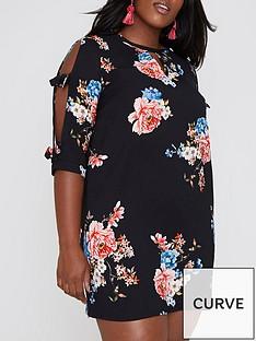 ri-plus-ri-plus-bow-tie-sleeve-floral-dress--black