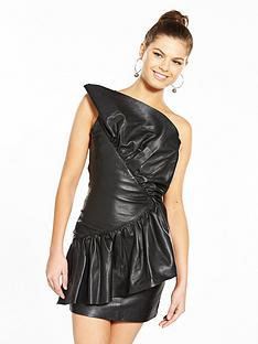 v-by-very-unique-frill-one-shoulder-leather-dress