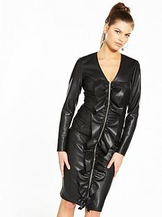 v-by-very-unique-zip-up-faux-leather-dress