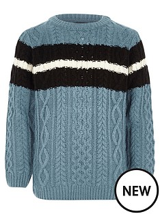 river-island-boys-blue-cable-knit-stripe-jumper
