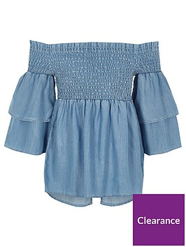 river-island-girls-blue-denim-shirred-bardot-frill-top