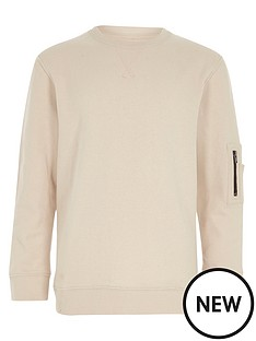 river-island-boys-cream-zip-pocket-sleeve-sweatshirt