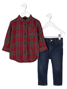 river-island-mini-boys-red-tartan-shirt-and-jeans-outfit