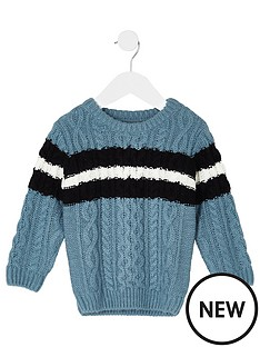 river-island-mini-boys-blue-cable-knit-stripe-jumper