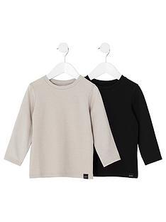 river-island-mini-boys-black-and-stone-waffle-t-shirt-multipack