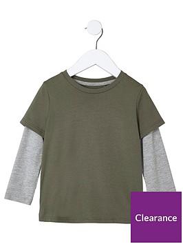 river-island-mini-boys-khaki-green-double-layer-t-shirt