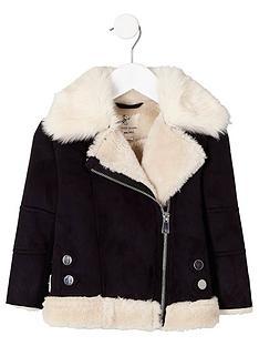river-island-mini-girls-black-faux-fur-trim-aviator-jacket