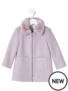 river-island-mini-girls-faux-fur-collar-swing-coat