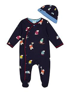 baker-by-ted-baker-baby-boys039-navy-polar-bear-print-sleepsuit-and-hat-outfit