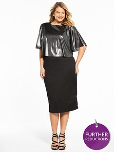 v-by-very-curve-double-layer-metallic-top-dress