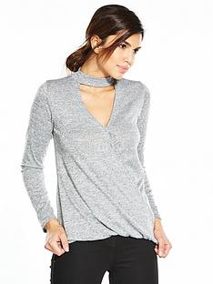 v-by-very-drape-front-choker-jersey-knit-top-grey-marl