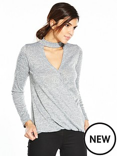v-by-very-drape-front-choker-jersey-knit-top-grey-marl