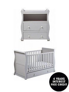 east-coast-alaska-cot-bed-dresser-changer-grey