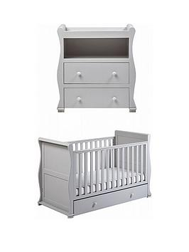 East Coast   Alaska Cot Bed & Dresser Changer - Grey