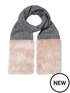 river-island-check-faux-fur-trim-scarf